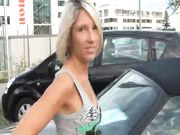 Oral sex outdoor in public with hot German blonde