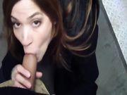 Amateur oral sex in a public place outdoor