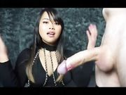 Cute Asian teen does a handjob and gets cum in her hands